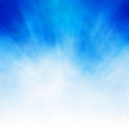 foggy: Editable vector background of a bursting white cloud on blue made using a gradient mesh