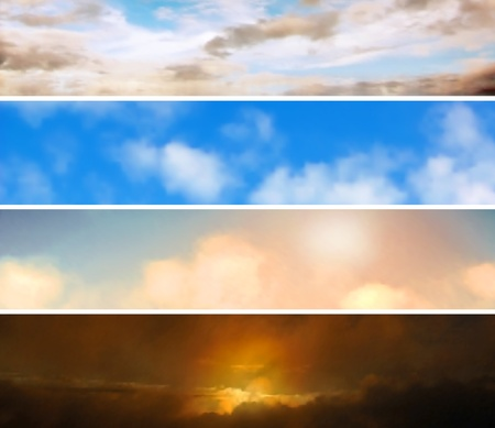 Four editable banners of skies made using gradient meshes Stock Vector - 13818854
