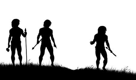 Editable silhouettes of three cavemen hunters with spears tracking animals Vector