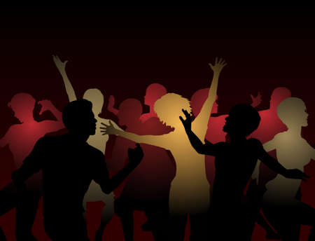 crowd happy people: Editable silhouettes of people dancing at a disco