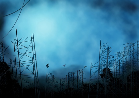 desolate: Editable background illustration of scaffolding in a desolate landscape with background made using a gradient mesh