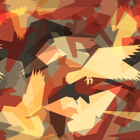 Editable seamless tile of abstract flying birds Vector