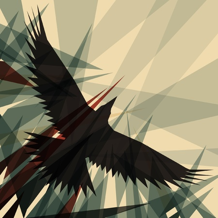 cuervo: Diseño editable de un cuervo de vuelo Vectores