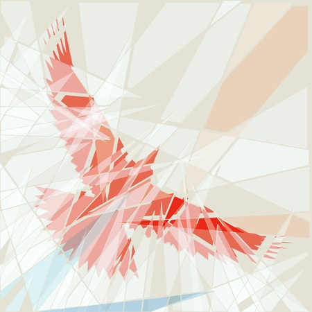 flapping: Editable illustration of a flying red bird as if seen through shattered glass