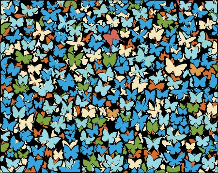 Background editable illustration of lots of butterflies Stock Vector - 14208678