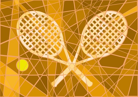 Editable mosaic design of clay court tennis Vector
