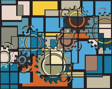 chain reaction: Abstract editable mosaic design of cog wheels