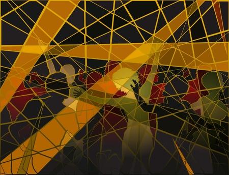 dancefloor: Editable silhouettes of people dancing at a disco in batik mosaic style