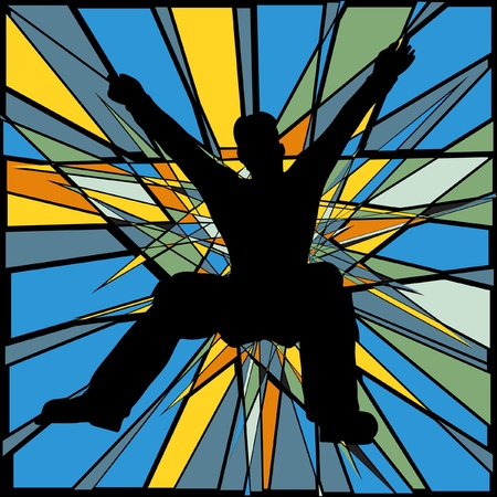 person falling: Colorful editable mosaic design of a man jumping or falling