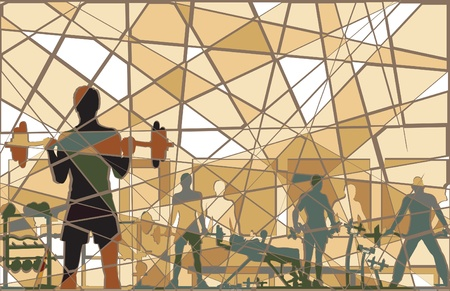 fitness equipment: Editable batik mosaic design of people exercising in a gym Illustration