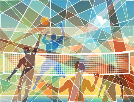 Editable colorful batik mosaic design of four men playing beach volleyball Vector