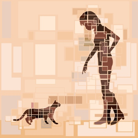 approaching: Editable design of a woman and cat approaching each other Illustration