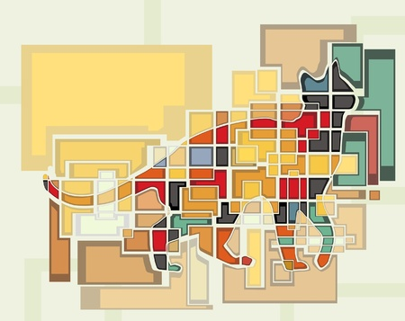 domestic cat: Colorful abstract editable mosaic design of a domestic cat Illustration