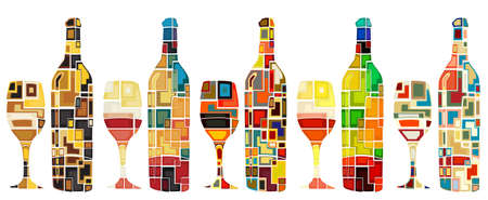 bottle of wine: Abstract mosaic editable designs of wine bottles and glasses