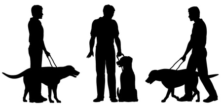 guide dog: Editable vector silhouettes of a blind man and his guide dog with each man and dog as a separate object