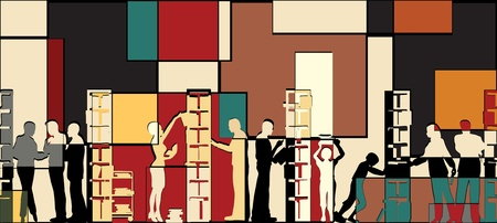 bookshop: Colorful editable vector mosaic illustration of people in a library