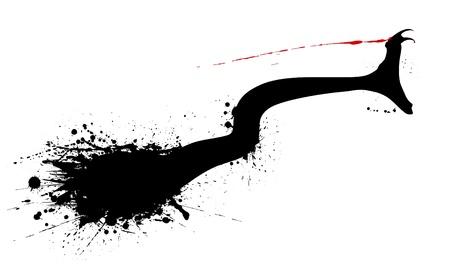 rattle snake: Editable vector grunge silhouette of a striking snake