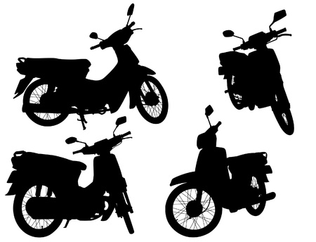 moped: Set of editable vector silhouettes of motorcycle scooters