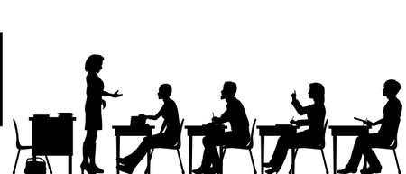 classroom teacher: Sagome vettoriali modificabili di studenti adulti e un insegnante in una classe con tutti gli elementi come oggetti separati