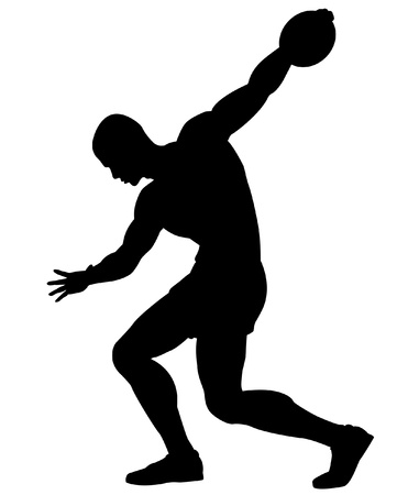 strong men: Editable silhouette of a man about to throw a discus Illustration