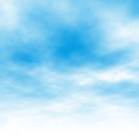 blue gradient background: Editable vector illustration of light clouds in a blue sky made using a gradient mesh
