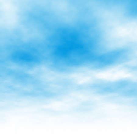 azul: Ilustración vectorial editable de nubes de luz en un cielo azul hecha con una malla de gradiente