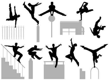 Set of editable vector silhouettes of a man doing parkour