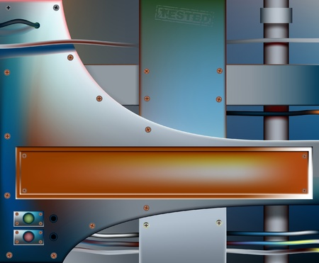 metalwork: Editable vector background of colorful metal plates with copy space, made using gradient meshes Illustration