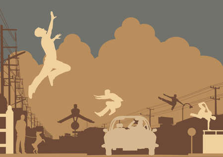 leap: Editable vector silhouettes of men doing parkour in an urban street scene