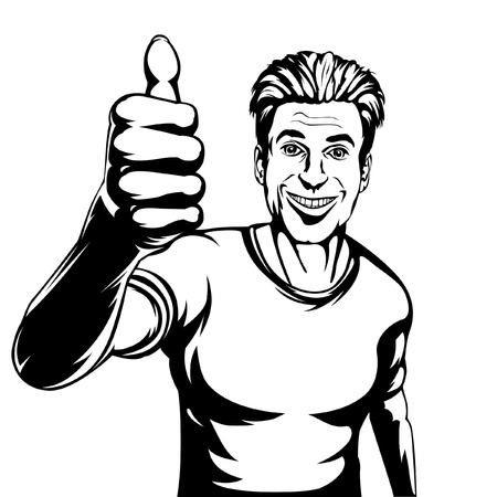 man thumbs up: Editable vector illustration of a smiling man giving a thumbs up gesture