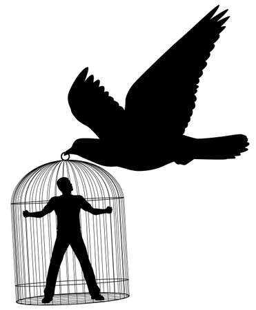 trapped: Editable silhouette of a pigeon or dove carrying a man in a cage