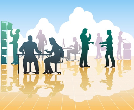 open plan: Editable silhouettes of people in a busy office with reflections