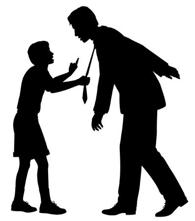 Editable silhouette of a young boy warning a man who could be his father or a businessman as a concept of responsibility to future generations Stock Vector - 14934590