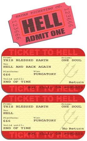 sin: Editable illustrations of tickets to Hell Illustration