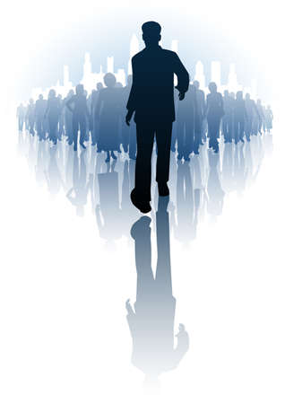 forwards: illustration of a businessman walking infront of a crowd of people Illustration