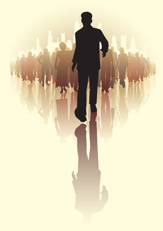forwards: Editable vector illustration of a businessman walking infront of a crowd of people
