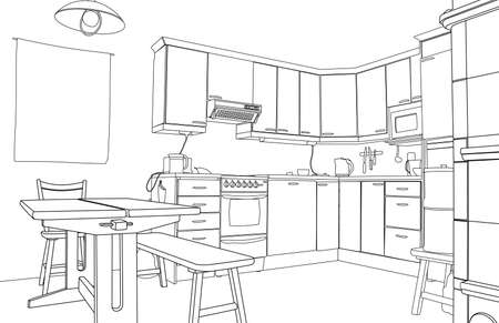modern kitchen: Editable vector illustration of an outline sketch of a kitchen interior
