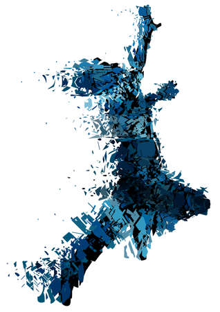 fragmented: Editable vector illustration of a running man shattered into small pieces