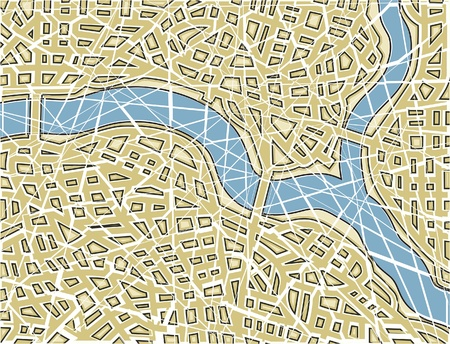 nameless: Editable vector illustration of a generic street map with no names as a broken mosaic
