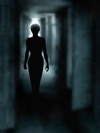 mysterious: Editable vector illustration of a womans silhouette walking down a dark passage made using a gradient mesh Illustration