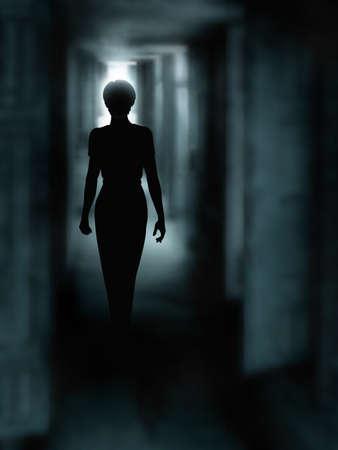 gölge: Karanlık bir koridordan yürürken bir kadının siluetini düzenlenebilir vektör çizim bir degrade örgü kullanılarak yapılan