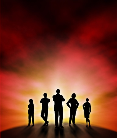 Editable illustration of a business team silhouette standing at a new dawn with background made using a gradient mesh Vector