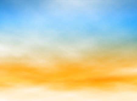 puesta de sol: Ilustraci�n editable de nubes altas y niebla en un cielo azul y naranja hecha con una malla de degradado