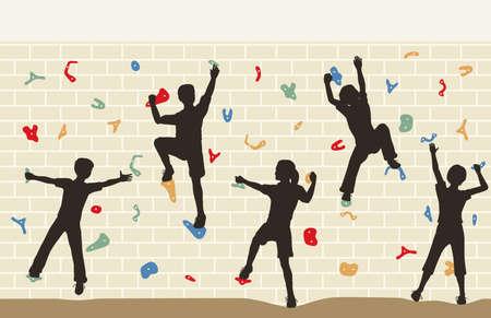 niño trepando: Ilustración editable de siluetas de los niños sobre un muro de escalada Vectores