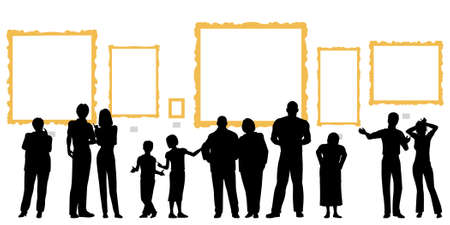 art gallery: Vettoriale modificabile sagome di diverse persone in una galleria d'arte o un museo