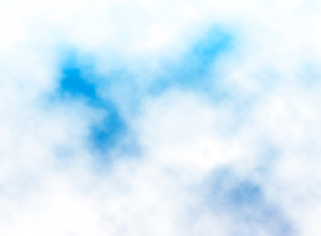 gradient mesh: Editable vector illustration of fluffy white clouds in a blue sky made with a gradient mesh