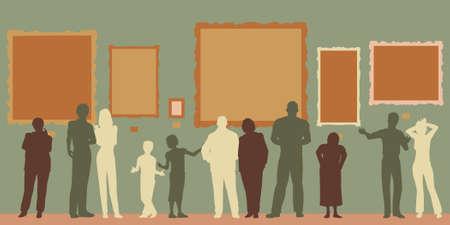 beursvloer: Editable vector silhouetten van diverse mensen op een kunstgalerie of een museum