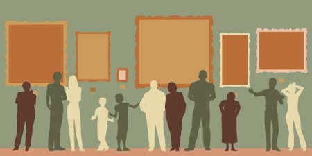 exhibitions: Editable vector silhouettes of diverse people at an art gallery or museum Illustration