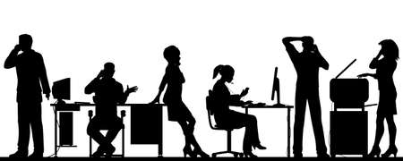 worker silhouette: Editable vector illustration of business people in an office all talking on cellphones with all elements as separate objects Illustration