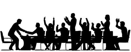 Editable vector silhouettes of business people celebrating at a meeting with all elements as separate objects Vector